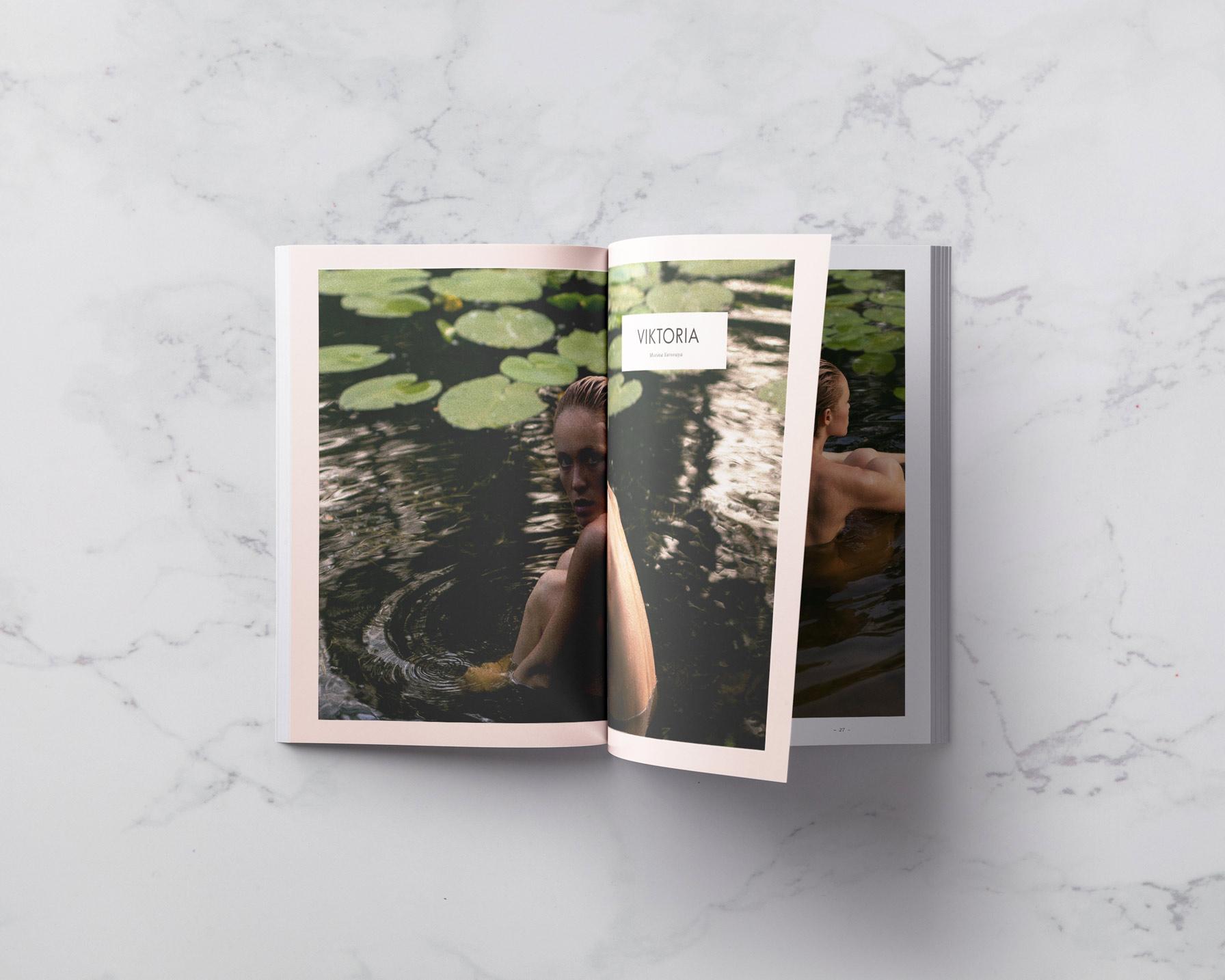 Viktoria Yarova in the lake with lotus